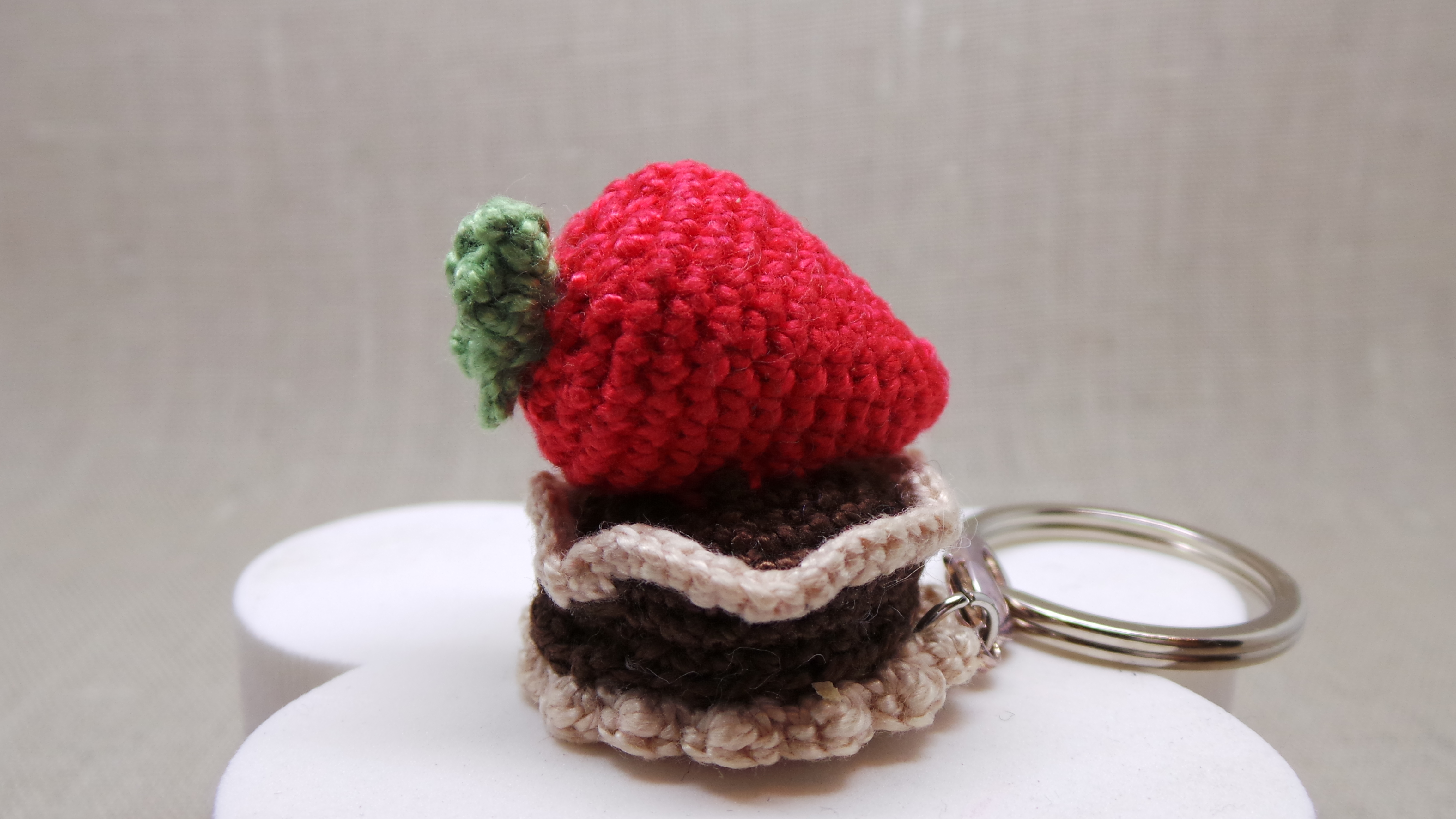 Crochet Strawberry Cake Key Chain