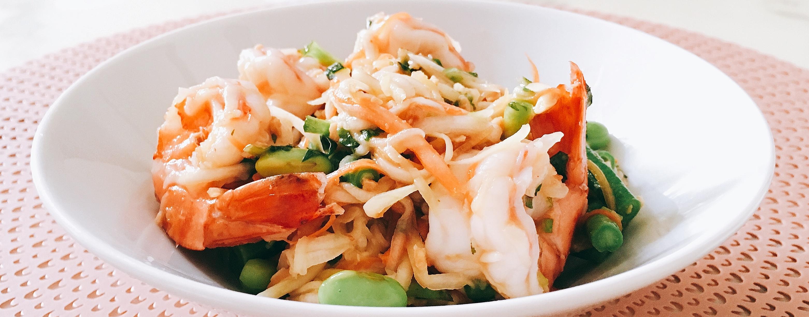 Salade Thaï aux crevettes et mangue verte